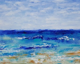 Beach painting Abstract painting Blue abstract artwork Ocean waves Modern abstract island art Original oil painting Beach vacation Art 18x24