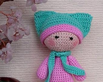 Crochet doll, crochet toy, knit doll, knit toy, hand knit doll, hand knitted toy, small doll, soft doll, stuffed doll, stuffed toy, rag doll