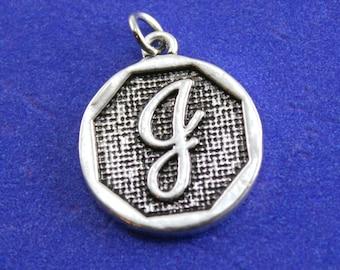 1 pcs-Initial J Charm, J Alphabet Pendant, Antiqued Silver Letter J Coin- AS-K85350H