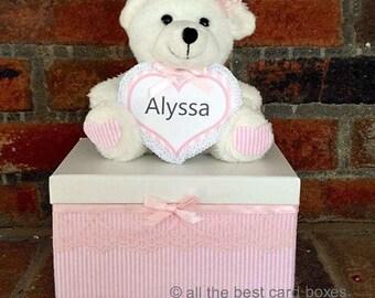 Teddy bear gift box,baby gift,baby girl gift,baby shower gift,pink