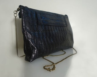 Pattern Leather Clutch For Women's, Clutch Handbag, Black Leather Clutch, Handbag Leather, Black Leather Bag, Handmade Purses, Four Seasons