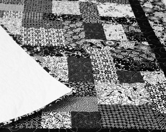 Black and White Patchwork Lap Quilt