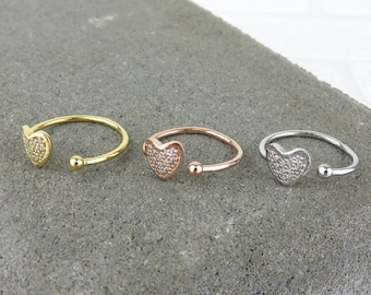 Heart CZ Stacking Ring
