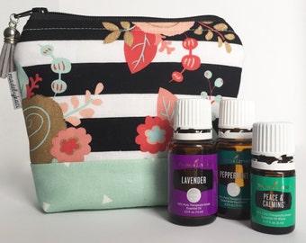 B/W STRIPE FLORAL // Essential Oil Bag // Essential Oil Storage // Essential Oils // made to order // 5, 7, 9 pocket bag //