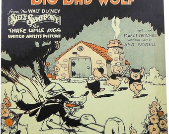 Mickey Mouse Presents Who's Afraid Of The Big Bad Wolf Nice Vintage Sheet Music!