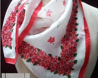 Red Pink Floral Vintage Silk Scarf: Wedding, Graduation, Birthday Gift, Mid Century Retro. 31 inch. Hip Steampunk. Add A Charm Scarves SC47
