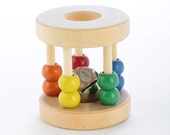Natural Wooden Baby Rattle - Roller Rattle