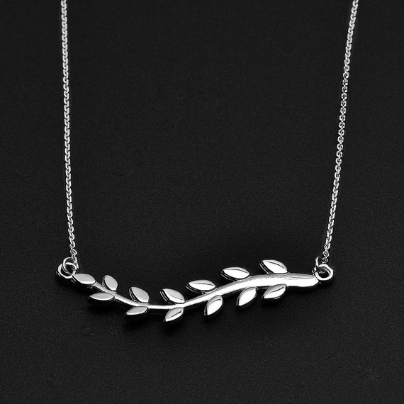 Sterling Silver Olive Branch Polished Earth Necklace