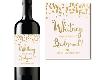 Will You Be My Bridesmaid? Wine Label Proposal Pink & Gold Confetti - PRINTABLE
