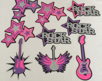 9 pcs Girl Rockstar Centerpieces, Rock Star Birthday Decorations, Rock Star Birthday, Rock Star Party Decorations, Rock Star Party