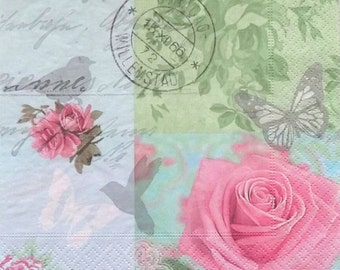 Set of 2 pcs 3-ply Romantik Rose paper napkins for Decoupage or collectibles 33x33 cm, Tissue paper, Scrapbooking, Servetten