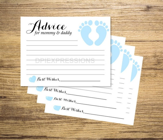 baby shower advice cards printable blue baby footprints advice for