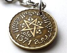 Zipper charm, Moroccan, Gothic charm, Coin charm, Handbag charm, Purse charm, Black magic, Gifts under 20, Vintage coin, Charms, Coins, 1952