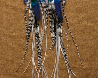 """Long Feather Earrings """"Bright Chandelier"""""""