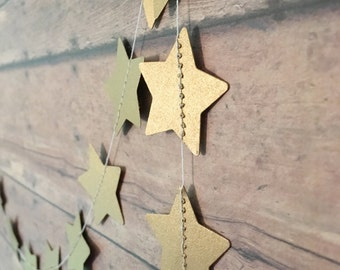 Gold Star Garland • Metallic Party Decor • Gold Party Supplies • Twinkle Little Star Party • Baby Shower Gold Decor • Star Nursery Theme