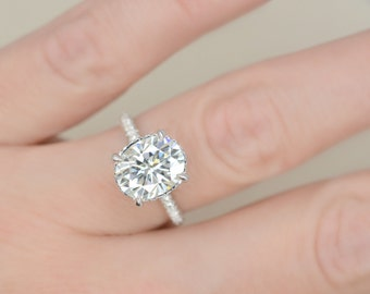 10x8 Oval Cut Forever Brilliant Moissanite Engagement Ring on 14K White Gold with Diamonds