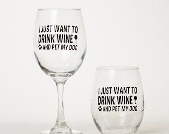 Dog themed wine glass