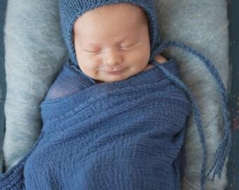 Blue Knit Knitted Newborn Pixie Hat Bonnet Prop 39 COLORS