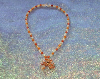 Red Agate Tree Of Life Necklace, Citrine Nuggets, Orange Glass Beads