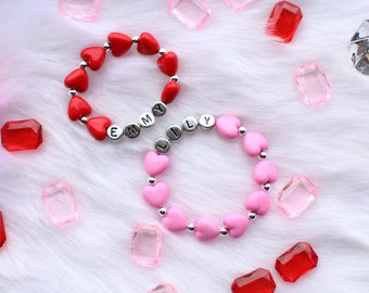 Red or Pink Heart Personalized Valentines Bracelet