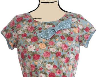 Floral tea dress, retro, vintage style, 1960s, wedding, party, event, green, cotton