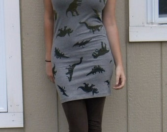 LIMITED EDITION Hand Printed 'Party to Extinction Again' Fitted Women's Dinosaur Covered Dress.
