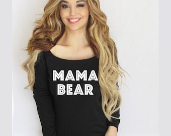 Mama Bear sweatshirt. off shoulder sweatshirt. Wide Neck Mama bear Sweatshirt made by ThinkElite1.