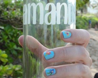 Personalized etched glass (repurposed) water bottle
