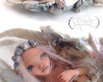 Custom Mermaid Art Doll // Make to order fantasy art doll, mermaid doll, mermaid art doll, miniature mermaid bath, OOAK mermaid sculpture