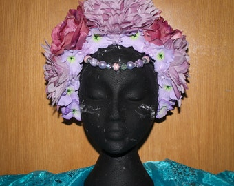 Pink, purple floral headdress, headpiece with beads and artificial flowers