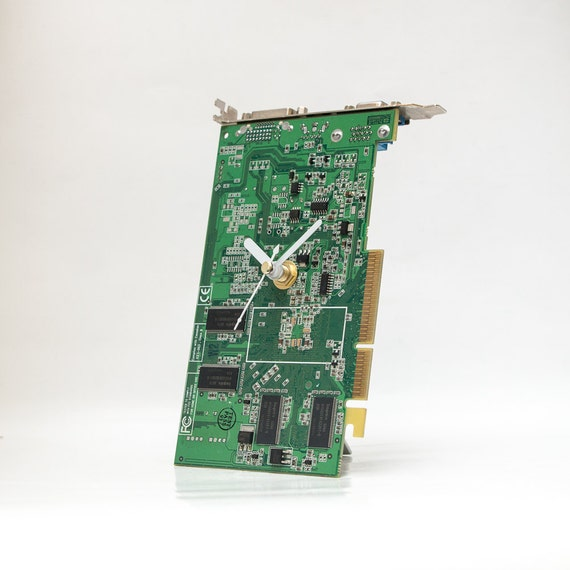 Green Desk Clock, Circuit board Clock, Recycled Computer Parts Clock, Computer Desk Clock, Boyfriend Gift, Husband Gift, Father Geek Gift