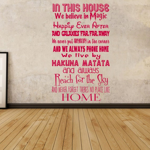 Movie Quotes Wall Art : Film quotes in this house movies wall art vinyl decal