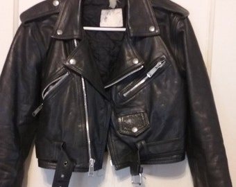 Vintage Women's Leather Motorcycle Jacket Small