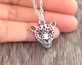 Silver Leopard Necklace, Leopard Jewelry, Birthday Gift, Leopard Face Charm, Panther, Tiger, Jaguar Necklace, Animal Lover Gift