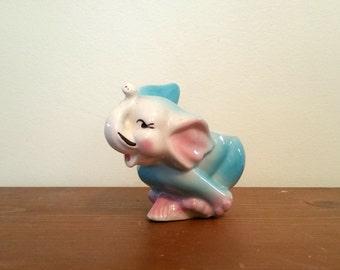 Ceramic Elephant Planter, Pink and Blue Baby Elephant , Anthropomorphic Animal, Kitsch Animal, Nursery Decor