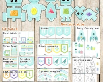 Robots party printable, 5 robots and rocket for a personalized Outer space birthday party, DIY