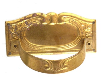 1 (ONE) Vintage Drawer Handle, Old Key Hole Cover, Escutcheon, Authentic antique. #643G77KD