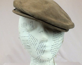 Vintage FitzGerald Special Boston Tan Leather Newsboy Hat Cabby Hat Flat Cap Suede Greek Fishing Hat Union Label
