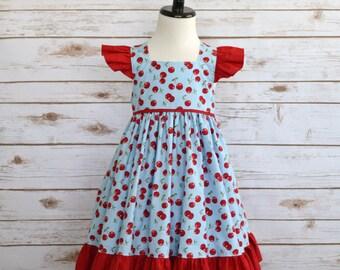 FREE SHIPPING! Toddler Girls Dress, Girls Boutique, Cherry Print, Summer Dress, Flutter Sleeve Dress, Classic Dress, 4T Ready to Ship