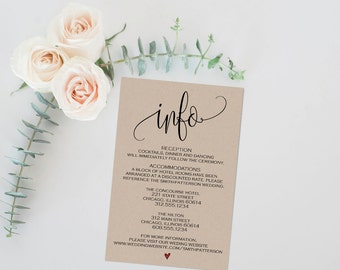 Information Card, Printable Info Card, Printable Enclosure Card, Wedding Enclosure Card, Info Card, Enclosure Card, Wedding Info, PDF, WSET5