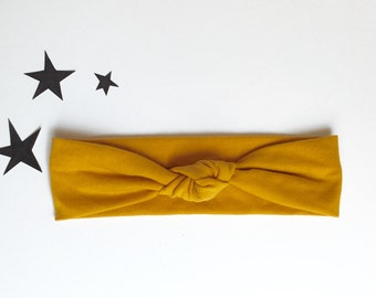 Baby Turban top knot in MUSTARD YELLOW