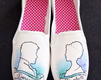 Pride and Prejudice Mr. Darcy and Elizabeth Bennet Custom Wedding Shoes
