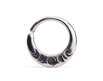 Moon Phase Septum Ring Nose Ring Body Jewelry Sterling Silver Bohemian Fashion Indian Style 14g 16g 18g- SE041