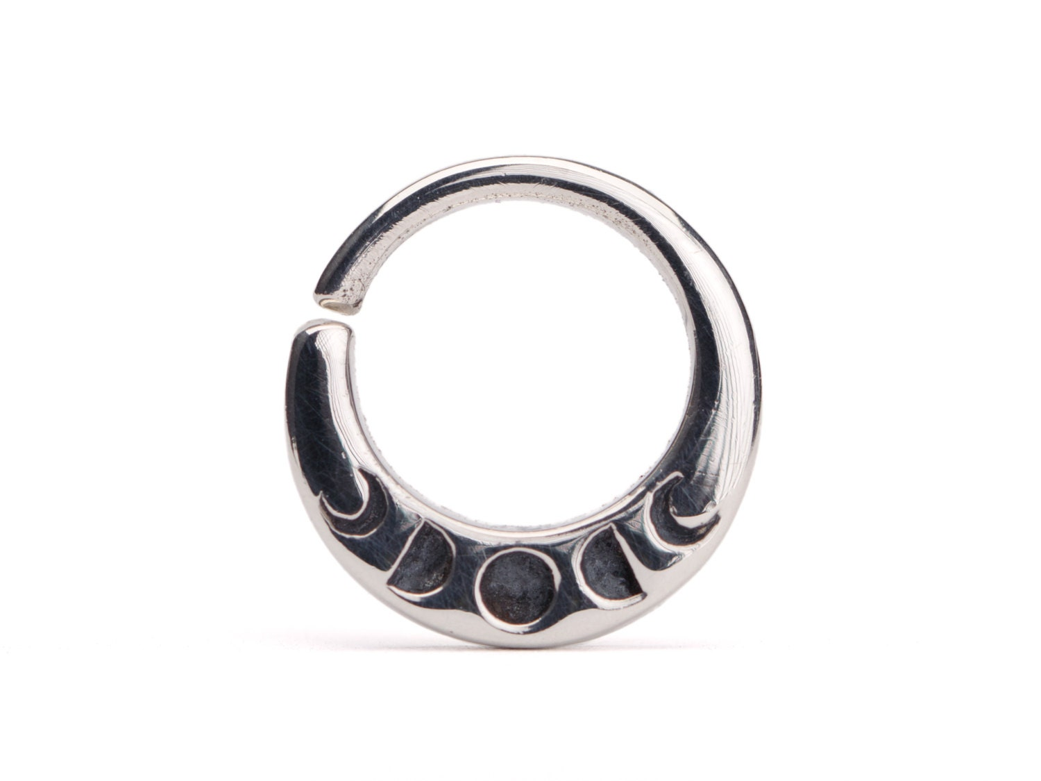 moon phases septum ring nose ring jewelry sterling silver