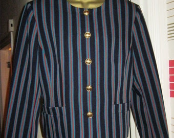 Clearance Sale -90's Country Casuals Striped Boxy Jacket - Size 14