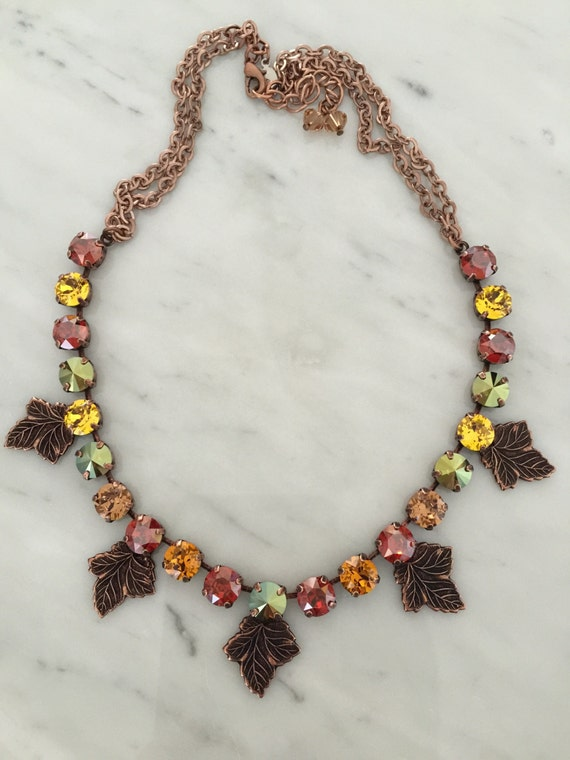 Autumn Glory Necklace, with Swarovski Topaz, Red, Yellow, and Green Crystals Set in Antique Copper