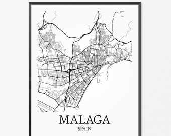 Málaga Map Art Print, Málaga Poster Map of Málaga Decor, Málaga City Map Art, Málaga Gift, Málaga Spain Art Poster