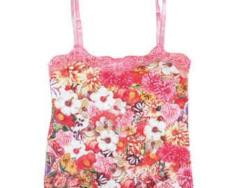 Floral cotton camisole with coral lace - feminine t shirt