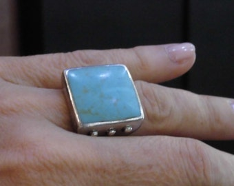 Turquoise Ring,Silver Ring,Natural Turquoise,Hippie Style,Boho Bohemian,Gift For Her,Birthday Gift,Birthstone,Turquoise Jewel,Silver Jewelry