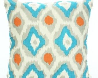 SALE Orange Aqua Gray Pillow Covers Decorative Throw Pillows Throw Pillows Cushion Covers, Couch Pillows, Ikat Adrian, 12 x 16 or 12 x 18